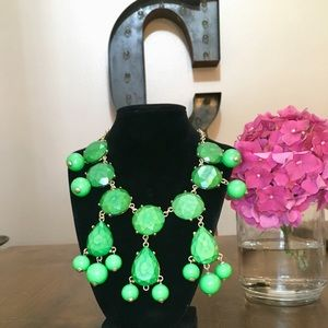 Green Oversized Gemstone Long Statement Necklace